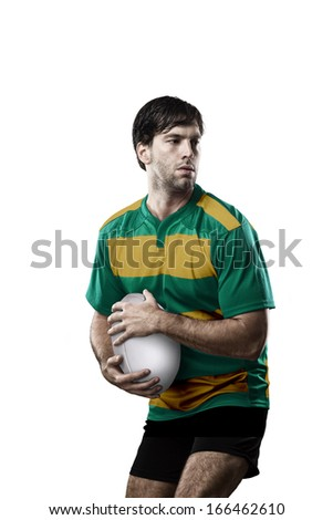 Rugby player in a green and gold uniform. White Background