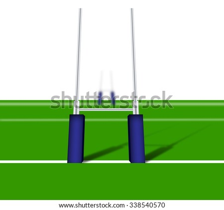 Rugby posts with blue padding - stock photo