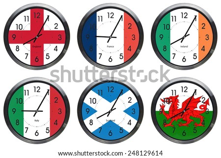rugby six nations wall clocks of flag on each clock and showing the first match time - stock photo