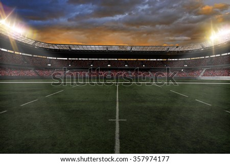 Rugby Stadium with fans wearing red uniforms