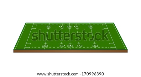 Rugby Union Field 3D Perspective - stock photo