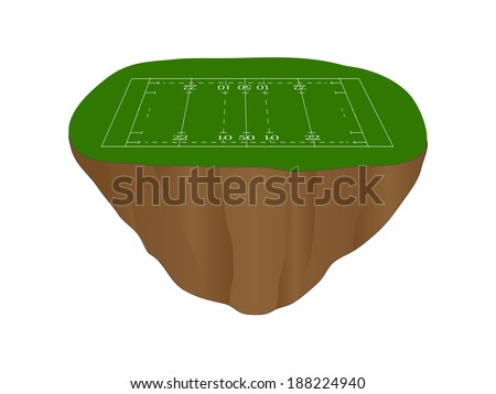 Rugby Union Field Floating Island - stock photo