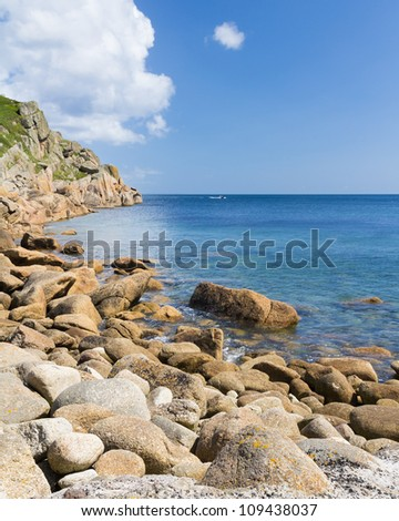 Rugged beach at Penberth Cornwall England UK
