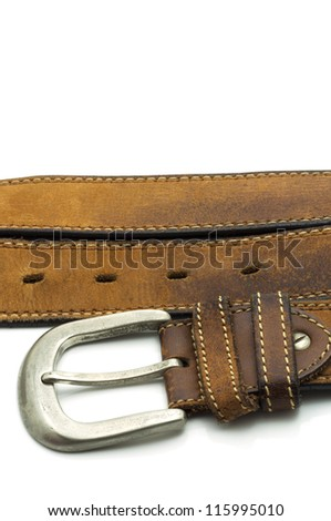 Rugged Brown Leather Jean Belt with Silver Buckle Isolated on White
