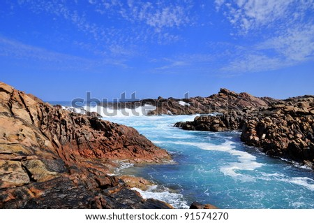 Rugged Coastline of Australia's South West Coast, Canal Rocks - stock photo