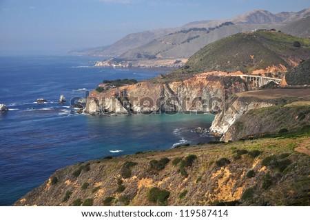 Rugged Coastline on Pacific Coast Highway, California - stock photo