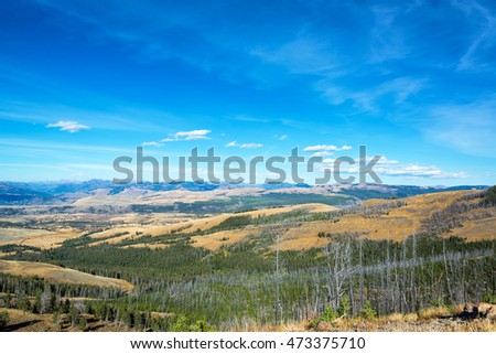 Rugged landscape as seen from Mount Washburn in Yellowstone National Park