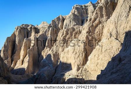 Rugged Landscape of Badlands National Park - stock photo
