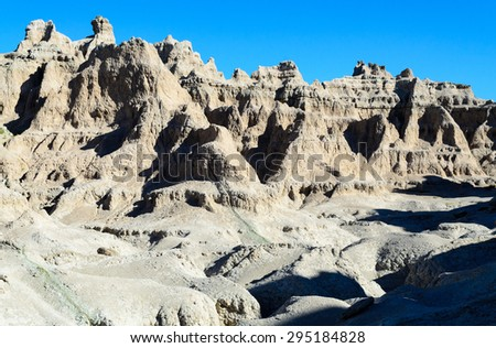Rugged Rock Formations at Badlands National Park - stock photo