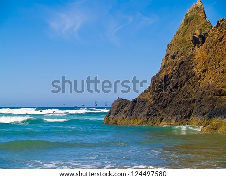 Rugged Rocky Beach on the Oregon Coast with a Flock of Seabirds Flying - stock photo