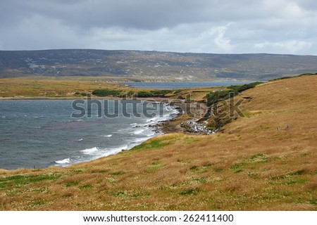 Rugged windswept coastline of East Falkland in the area around Port San Carlos in the Falkland Islands - stock photo