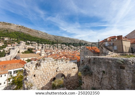 Ruin area in  Dubrovnik old town around the town fortress. - stock photo
