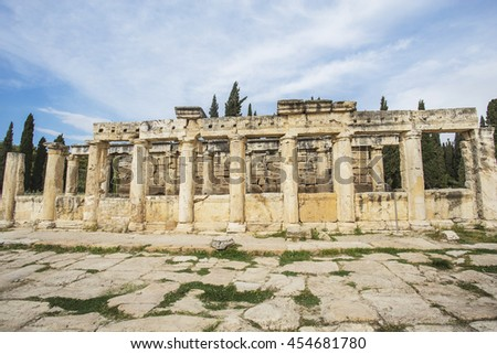 Ruin Building in Hierapolis, an ancient city at Pamukkale, Turkey