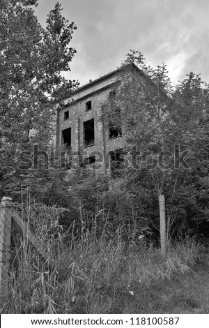 Ruin of an old german World War II Oxygen Factory in Peenemuende, Usedom Island, Germany