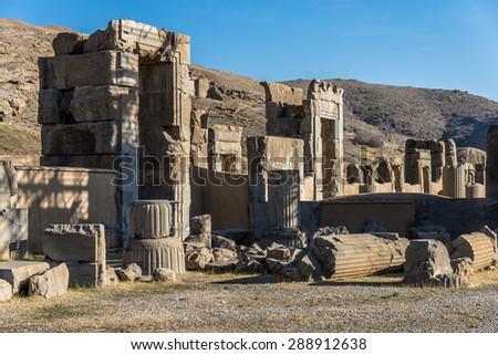 Ruin of ancient city Persepolis, Iran. Persepolis is a capital of the Achaemenid Empire. UNESCO declared Persepolis a World Heritage Site. - stock photo
