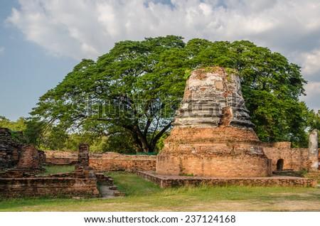 Ruin of ancient pagoda at Wat Phra Si Sanphet temple in Ayutthaya historical park, Thailand - stock photo