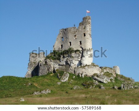 ruin of castle in Mirow, Poland - stock photo