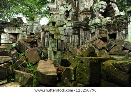 Ruin of Mystery Temple in the Jungle of Cambodia