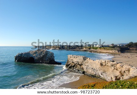 Ruin of Natural Bridge in Natural Bridges State Beach, Santa Cruz, California, USA