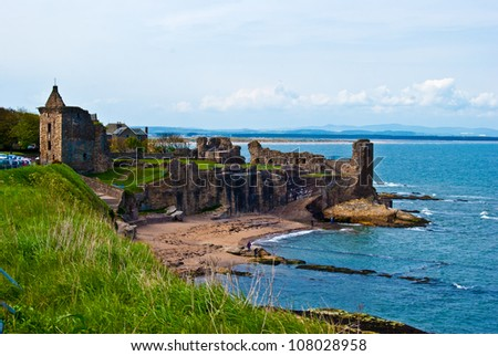 Ruin of St Andrews Cathedral in St Andrews, Scotland - stock photo