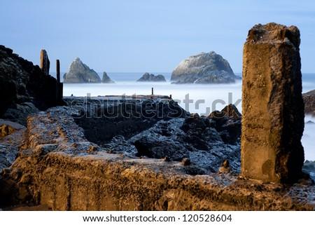 Ruin of Sutro Baths, at might, San Francisco - stock photo