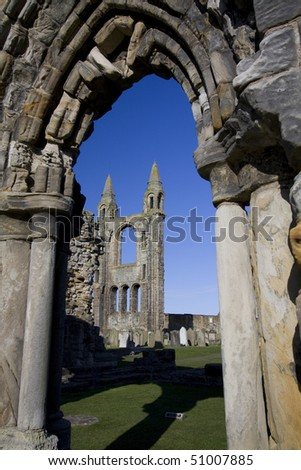 ruin of the cathedral of St Andrews - stock photo