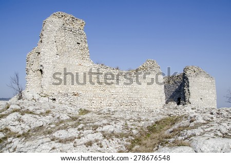 Ruin of the medieval central-european castle - stock photo