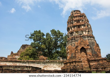 Ruin of tilt pagoda at Ayutthaya Historical Park.