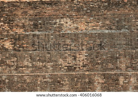 Ruin red wall brick, Image create for texture, background or backdrop. - stock photo