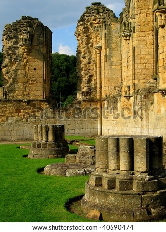 Ruined Abbey in Yorkshire, England - stock photo