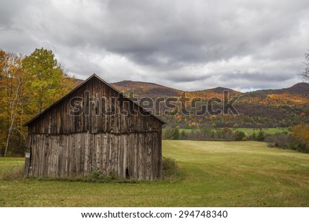 Ruined barn, Autumn background - stock photo