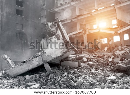 Ruined buildings - stock photo