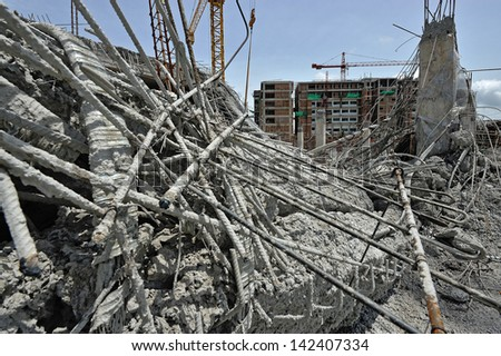 Ruined buildings from accident, Thailand - stock photo