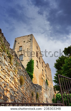 Ruined castle of the Marquis de Sade in village Lacoste, Provence, France - stock photo
