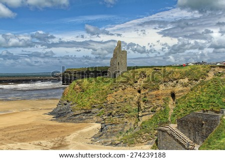 Ruined castle on a cliffs of Ballybunion on the wild atlantic way in county Kerry Ireland - stock photo