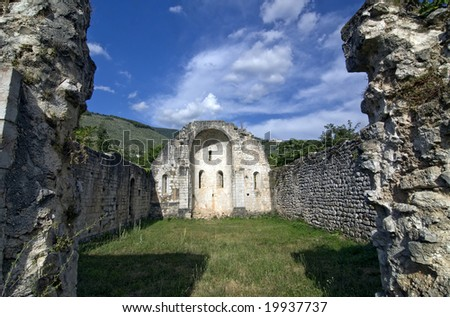 Ruined church at Campitello sul Clitunno, near Foligno (Perugia, Umbria, Italy)