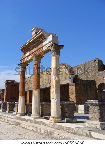 Ruined columns at the forum of Pompeii - stock photo