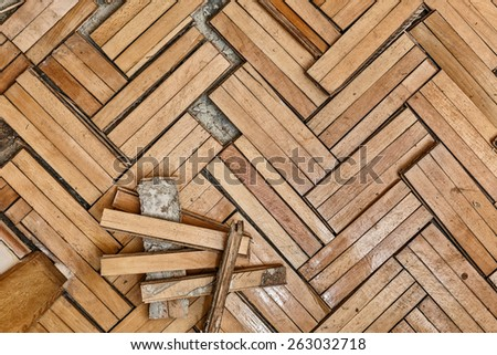 Ruined flooring from moisture and water from bathroom - stock photo