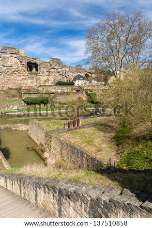 Ruined fortifications of Luxembourg city - stock photo