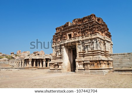 Ruined hindu temple, Hampi, Karnataka state,India - stock photo