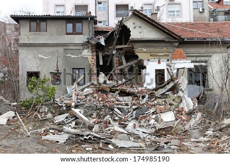 Ruined house after powerful earthquake disaster