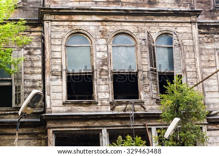 Ruined House at the Historical Part of Istanbul, Turkey - stock photo