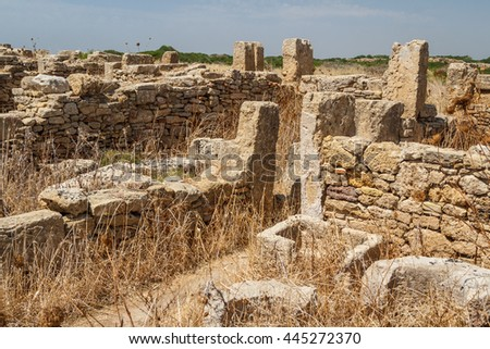 Ruined houses in the ancient city of Selinunte, Sicily, Italy - stock photo