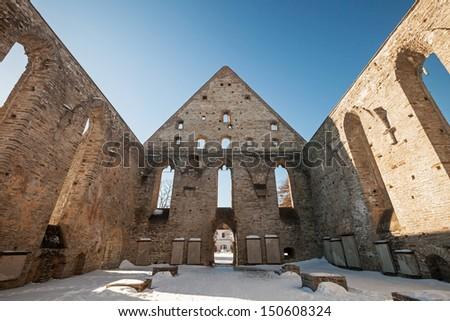 Ruined interior of St. Brigitta convent in Pirita, Tallinn, Estonia - stock photo