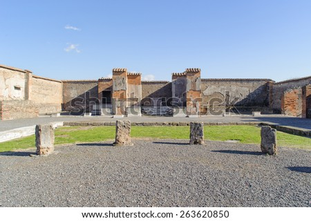 ruined market place in Pompeii. Pompeii is a ruin of acient Roman City near Naples in Italy. - stock photo