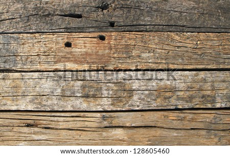 Ruined natural wooden background - stock photo