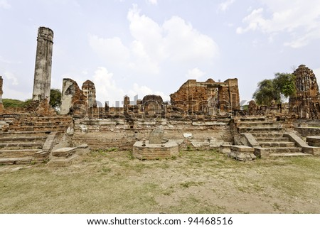 ruined old temple of ayutthaya, thailand
