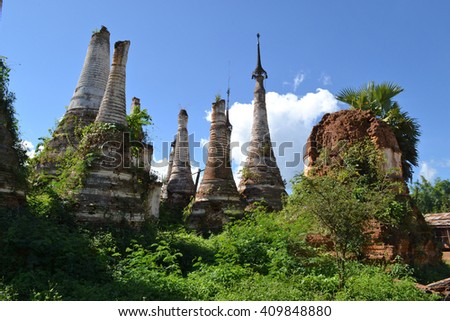 Ruined pagoda, Inle lake, Myanmar, Burma - stock photo