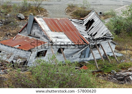 Ruined Shack at Independence Gold Mine, Alaska - stock photo