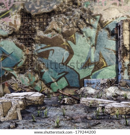Ruined wall with graffiti and rubble on the ground - stock photo